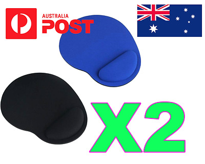 2 x MOUSE PAD COMFORT WRIST GEL SOFT REST SUPPORT PAD GAMING PC LAPTOP COMPUTER