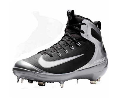 brand new bfa43 dc618 Nike Alpha Hurache Elite Metal Baseball Cleats Black Silver Size 11