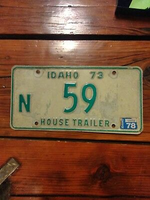 Idaho House Trailer 1973 License Plate #59 Good Condition VB#1