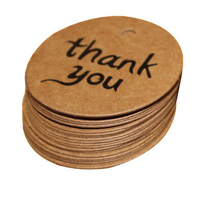 100X4cm Kraft Paper Hang Tags Wedding Party Favor Label thank you Gift Card、Pop