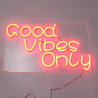 """23""""x13"""" Good Vibes Only Neon Sign Wall Home Decor Party Visual Artwork LED"""