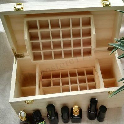 Large 5ml~100ml 49 Slots Essential Oil Bottles Wooden Box 2 Drawer Storage