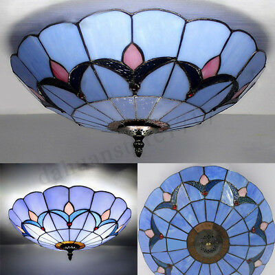 Modern Style Vintage Light Stained Glass Flush Mount Ceiling Lighting Fixture 1