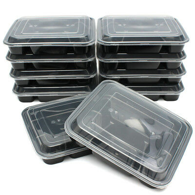 20X Microwavable Meal Prep Containers Plastic Food Storage Reusable Lunch Box 1