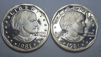 1981-S-Proof-Susan-B-Anthony-Dollar-Type-2-Clear-S-Type-1-Filled-S-Deep-Cameo BU