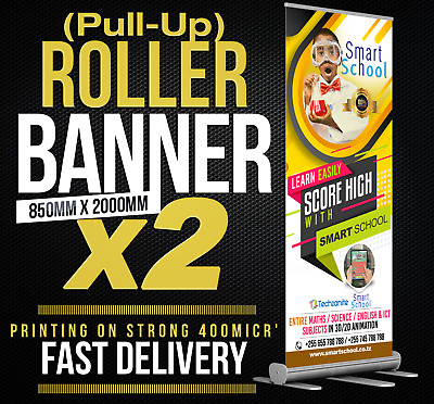 X2 Roller Banners Pull Up Pop 850x2000mm Full colour print with stand