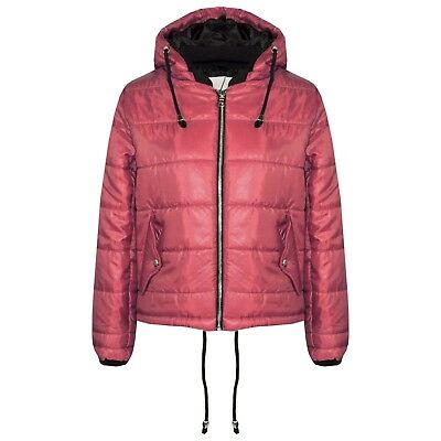 Kids Girls Jacket Bella High Shine Wine Hooded Padded Quilted Puffer Jacket 5-13