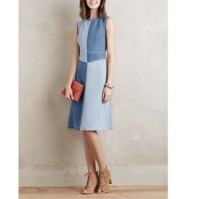 a877423a7590 Anthropologie Denim Holding Horses Patch Casual Dress Size 6 Retail $128