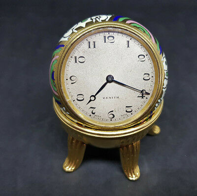 Beautiful Rare Antique Zenith Ball Clock Enamel Silver Dial With Stand
