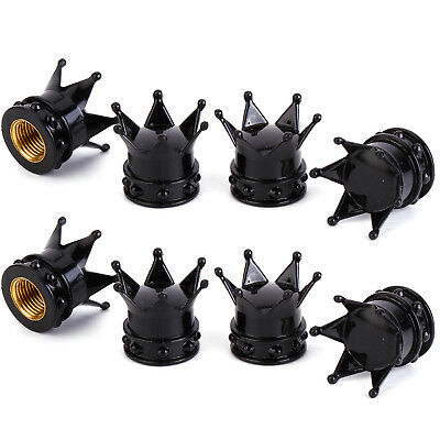 4 Pcs Bike Car Motorbike Wheel Tyre Air Valve Dust Caps Covers Crown Black