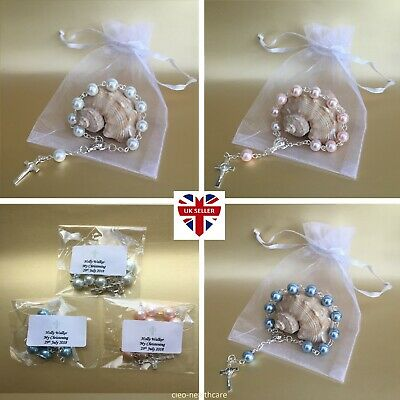 5 x PERSONALISED Mini Rosary Beads & Gift Bags ❤ Communion Christening Favours ❤