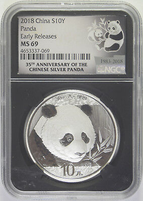 2018 Chinese Silver Panda NGC MS-69 Early Releases Retro Holder 35th Anniversary