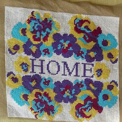 Modern Tapestry: Unique Handmade 'HOME (Pansies)' Sampler