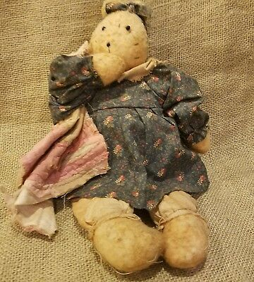 """Primitive Vintage Style Grungy 13"""" Tea Stained Sitting Teddy Bear With Quilt"""