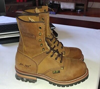 d63c88d3aba ADTEC WOMENS BROWN 9in Logger Crazy Horse Leather Work Boots 7.5