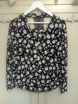 NEXT Black & White Floral Stretchy Long Sleeved Top / Lace Cut Out Back 10 NEW