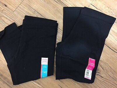NWT Lot Of 2 Faded Glory Black Leggings/Capris Size 6/6X