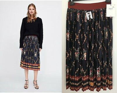 4ad867ee Zara Chain Floral Print Flowing Pleated Midi Skirt Size M medium Navy Blue