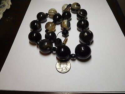 Victorian Antique 22 inch HUGE Bull Eye Banded Agate Quartz Bead Strand Necklace