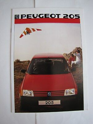 Catalogue Commercial Peugeot 205  Angleterre 09/85