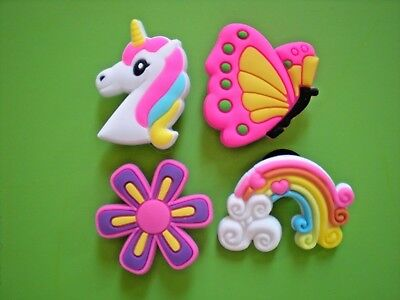 Clog Shoe Charm Button Pin Wristband For Accessorie Flower Unicorn Rainbow