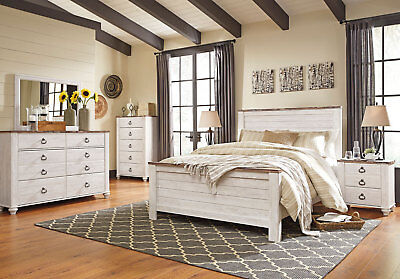 NEW CAROLINE COTTAGE White Wood 5 pieces Bedroom Set Furniture w ...