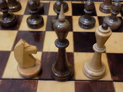 A Extra Large Traditional Wooden Hand Carved Wooden Chess Set with Folding Board
