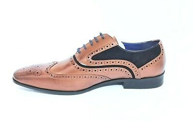 Italian Fashion Brown Leather Mens Formal Smart Shoes Business Wedding Brogues
