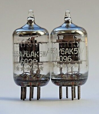 GE USA 6AK5W 5654 6096 5 Star Valve/Tube New Old Stock - Matched Pair (V39)