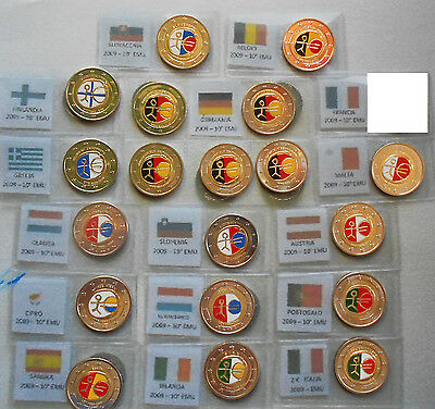 Giro 20 Monete 2 Euro 2009 Decennale Dell'emu Smaltati Colorati A Mano