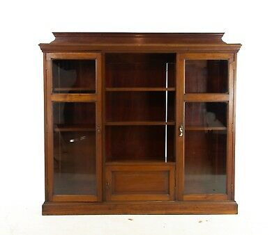 Antique Walnut Bookcase, Walnut Display Cabinet, Victorian Bookcase, 1890, B1164