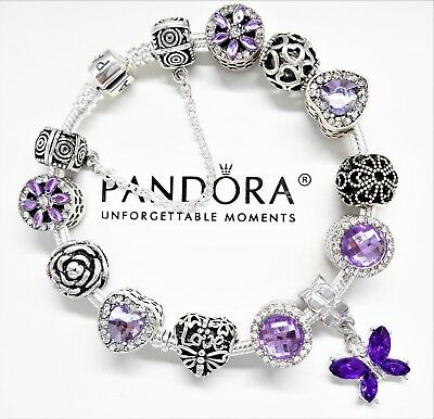 Authentic Pandora Silver Charm Bracelet PURPLE LOVE STORY HEART European Beads.