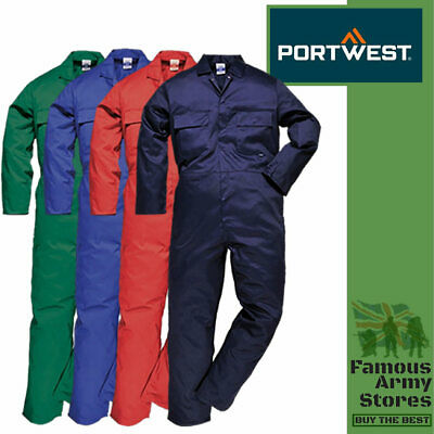 Portwest Euro Work Mens Coverall/Boilersuit/Overalls Polycotton Elastic Waist