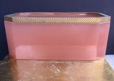 Antique Vintage French Pink Opaline Large Box Caddy