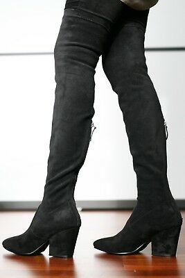 Womens, Girls black over the knee boots with heel - in faux suede