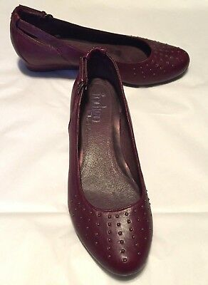 830df9067b5 Clarks Indigo Women s Shoes Wine Red Leather Bronze Studs Flat 1