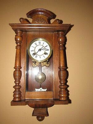 Antique Miniature Vienna Wall Clock made in Germany, 14-day, Time/Strike