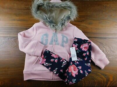 NWT Gap Toddler Girl's Faux Fur Sherpa Hoodie/Leggings 2Yrs MSRP$55 New