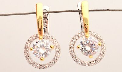 925 Sterling Silver Cubic Zirconia Rhodium Plated Circle Womens Dangle Earrings
