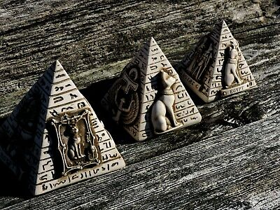 Vintage Egyptian Pyramid SET SOLID Stone Limestone Sculpture Hand Carved Statues