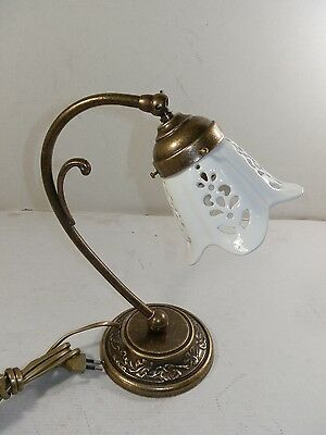 Lamp for bedside table room bed brass burnished lampshade ceramics