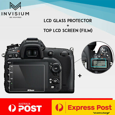 INVISIUM Tempered Glass Screen Film Protector TOP + REAR for Nikon D7500 DSLR