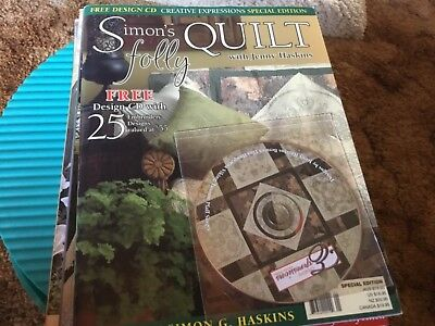 """Jenny Haskins Machine Embroidery Book """"Simon's Folly Quilt + Matching Design CD"""