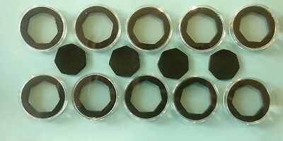10 New Coin Capsules [45mm] with large sized 7-sided 50p Black Foam Inserts
