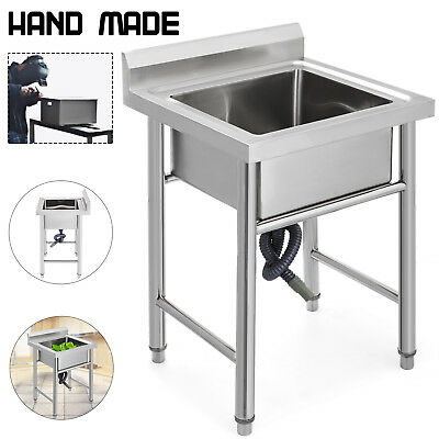 60 X 60 cm Kitchen Sink Stainless Steel Handmade Heavy Duty Prep Sinks One Bowl