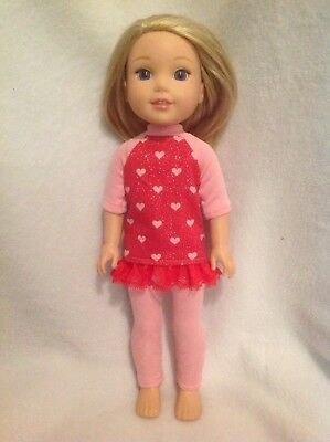 Fit Wellie Wishers Valentine's Top Leggings American Girl 14 doll clothes outfit