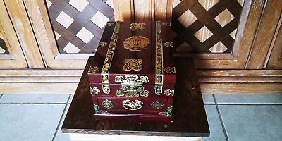 Korean Jewelry Cosmetic Box Lacquer Cherry Wood Beveled Mirror Colorful