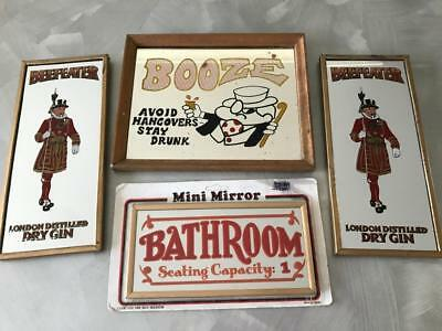 Vintage Sml Pub  Mirrors Beefeaters Gin Booze Beer Home Bar Mancave Advert Sign?
