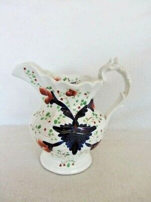 """Antique Large Gaudy Welsh Pearlware Jug/Pitcher Grape Pattern. 7.5"""" VGC"""