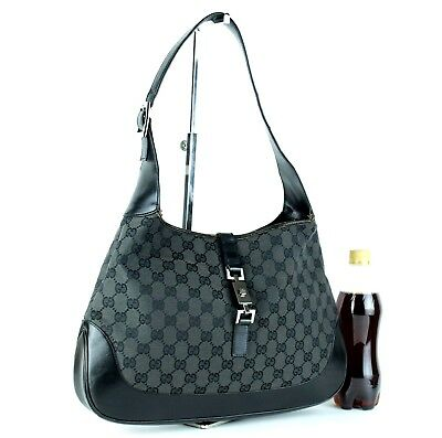d95bf130cfc Auth GUCCI GG Black Canvas   Leather Jackie Hobo One Shoulder Bag Purse  Italy